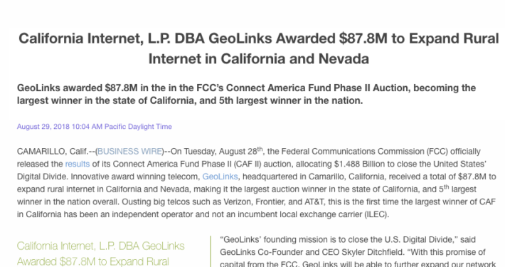 California Internet, L.P. DBA GeoLinks Awarded $87.8M to Expand Rural Internet in California and Nevada