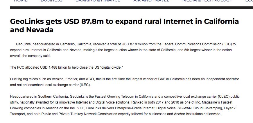 GeoLinks gets USD 87.8m to expand rural Internet in California and Nevada
