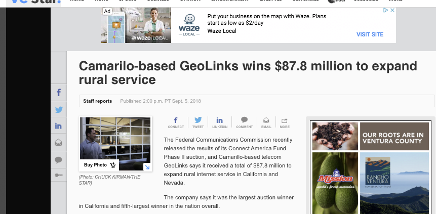 Camarilo-based GeoLinks wins $87.8 million to expand rural service