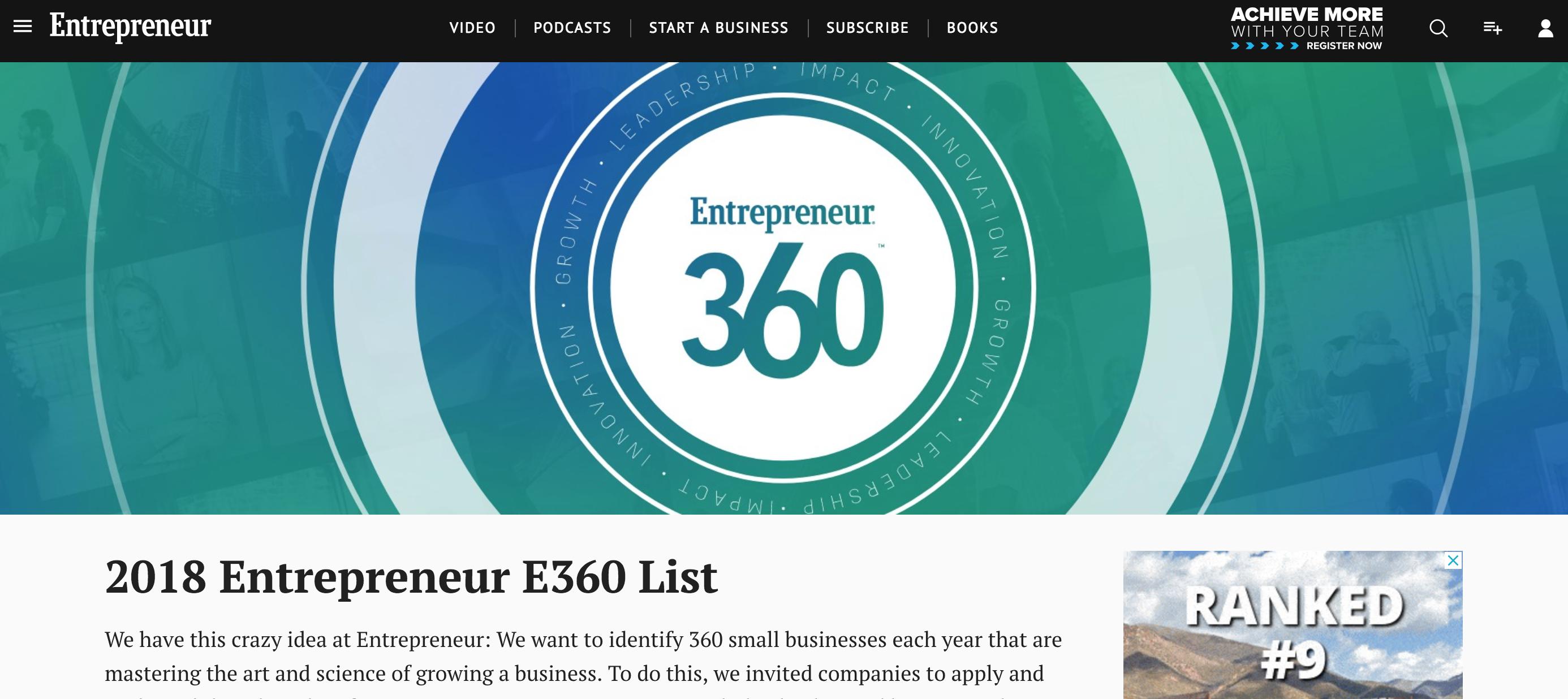 """GeoLinks Named One of the """"Best Entrepreneurial Companies in America"""" by Entrepreneur Magazine's Entrepreneur 360™ List"""