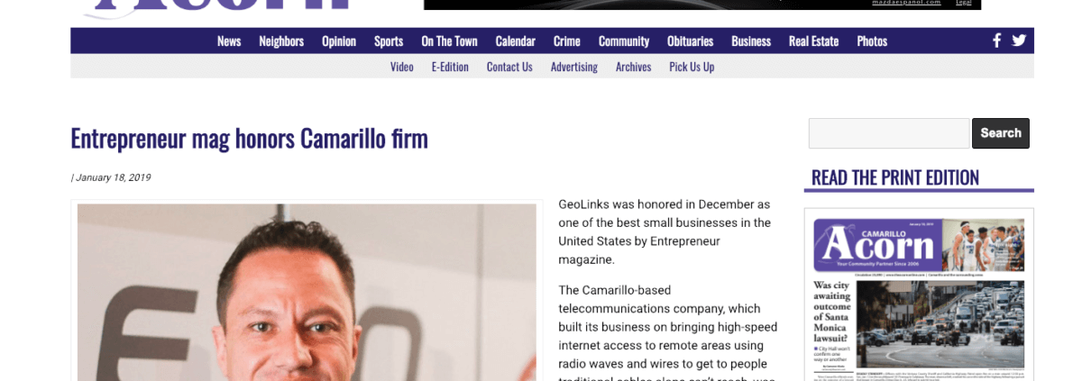 Entrepreneur mag honors Camarillo firm - GeoLinks