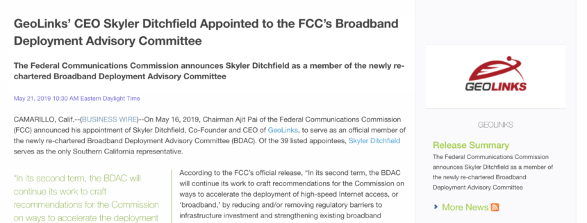 GeoLinks' CEO Skyler Ditchfield Appointed to the FCC's Broadband Deployment Advisory Committee