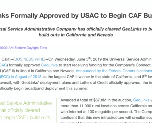 GeoLinks Formally Approved by USAC to Begin CAF Build Out