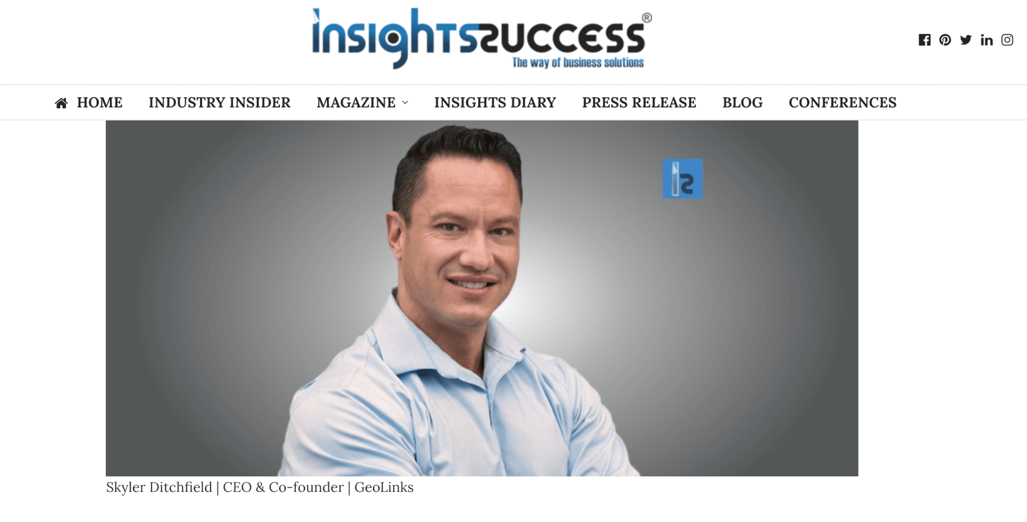 Skyler Named Most Inspiring Entrepreneur of 2019 by Insights Success